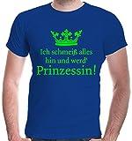 buXsbaum Herren T-Shirt Ich schmeiß alles hin und werd Prinzessin | Märchen Sprüche Krönchen Funshirt | L, Blau