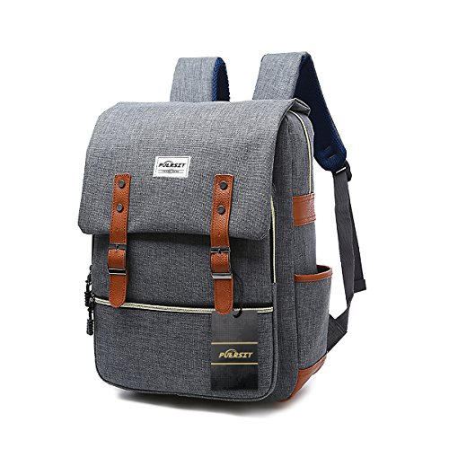 Vintage Laptop Rucksack, 15 Zoll Laptop Rucksack Puersit Durable Business College Reise Daypacks (grau) -