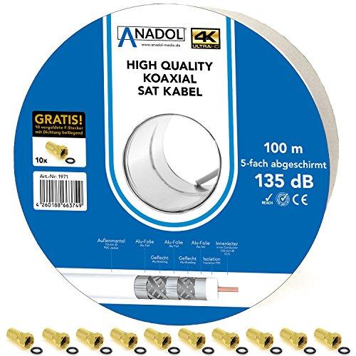 Anadol Satkabel Brandschutz-Koaxialkabel 135dB, 100m Spule, 7mm, 5fach geschirmt,Norm EN 50575, Brandschutzklasse Eca, inklusiv 10 vergoldete F-Stecker