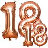 Luftballon 18 Geburtstag, HTBAKOI 18 Luftballons Zahl mit Heliumin 2 Größen 40