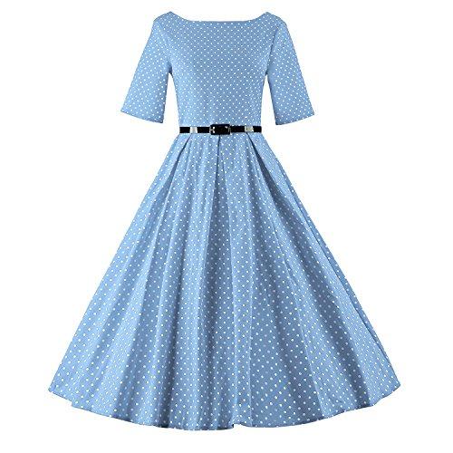 LUOUSE Audrey Hepburn 1/2 Sleeve 1950er Vintage Rockabilly Kleid,DotLightBlue,XXL