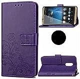WEIFA ZTE Blade A310 Case, Very Light Slim Art Grass Deisgn Soft Wallet Stand Flip Cover Card Slots, 2018 Newest Super Cool Thin Anti-Scratch CellPhone Case For ZTE A310 Purple