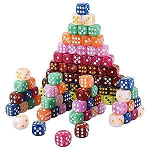 AUSTOR 100 Piezas Dados de 6-Caras (con una Bolsa) 10 Perla Colores x 10 Dados de Bordes Redondeados para Dungeons and Dragons Matemáticas y Juegos