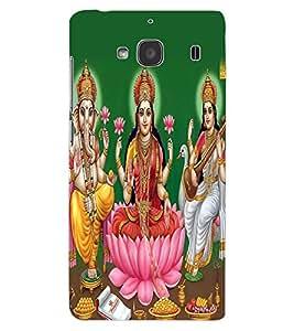 ColourCraft Lords Ganesha Maa Laxmi and Maa Saraswati Design Back Case Cover for XIAOMI REDMI 2S