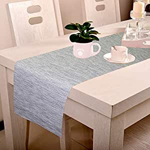 Lushomes Shiny Gold & Grey Waterproof and Heat Resistant PVC Runner (30 x 180 cms)