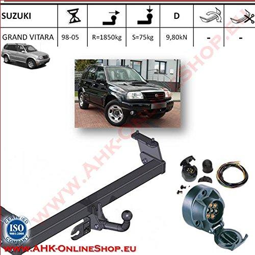 ATTELAGE avec faisceau 7 broches   Suzuki Grand Vitara de 1998 à 2004 / crochet «col de cygne» démontable avec outils