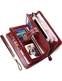 a64b0aad53 Portafoglio Donna Pelle RFID Portafoglio Grande Donna con Cerniera  Portafogli Capienti Donna-26 Solt per