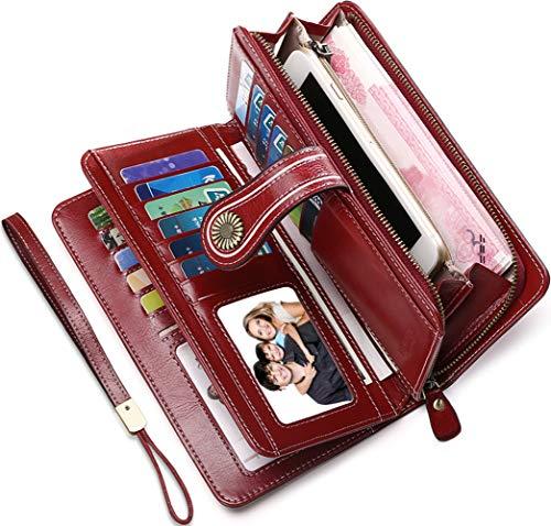 de594f624c Portafoglio Donna Pelle RFID Portafoglio Grande Donna con Cerniera  Portafogli Capienti Donna-26 Solt per