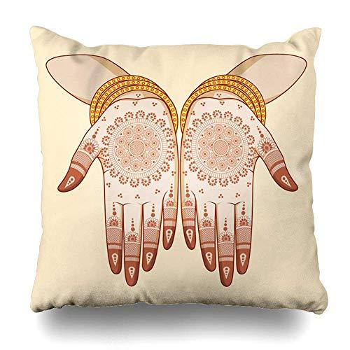 Sunny R Kissenbezug Mehndi Indian Bride Mehandi Hand Ethnische Henna Mehendi Bangles Ceremony Hindubridal 18×18 Zoll