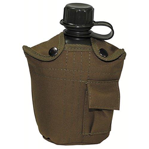 BKL1® US Plastikfeldflasche 1 L Trinkflasche mit Hülle Coyote Outdoor Camping wandern 1274