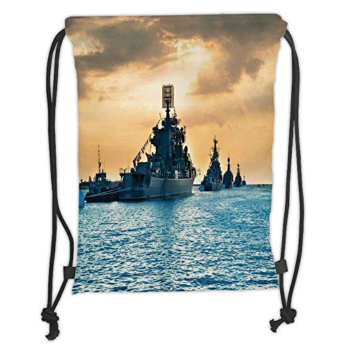 ck Backpacks Bags,War Home Decor,Ship Convoy on Sea Carrying Supplies to Battlefield Enemy Coasts Warfare Photo,Blue Tan Soft Satin,5 Liter Capacity,Adjustable String Closu ()