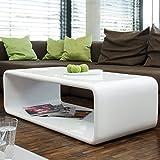 SalesFever Couch-Tisch weiß Hochglanz 120x60 cm aus Fiberglas recht-eckig | Lekaro | Schlichter Wohnzimmer-Tisch aus Einem Guss im Retro-Look mit abgerundete Kanten 120cm x 60cm