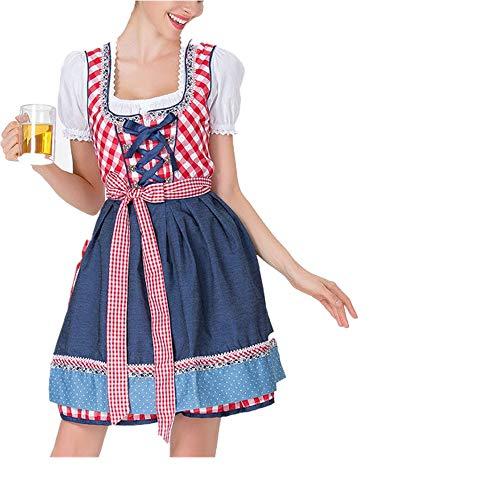 (Lazzboy Karneval Kostüm Frauen Bandage Schürze Bayerische Oktoberfest Bardame Dirndl Kleid(XL,Rot))
