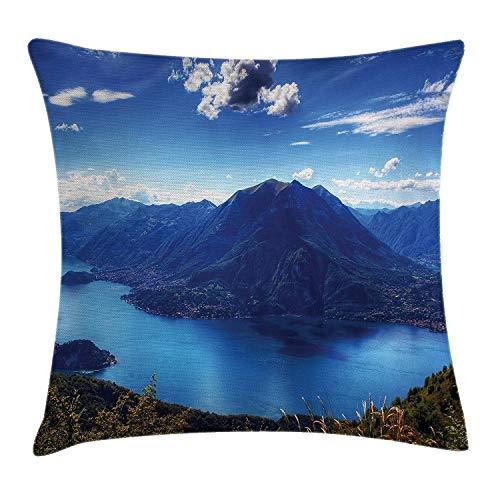 shizh Dekokissen Kissenbezug Panorama des Camo Sees mit Bergen bewölkt Mutter Erde-Paradies-Landschaft Pillow Case 45x45 cm,Blau -