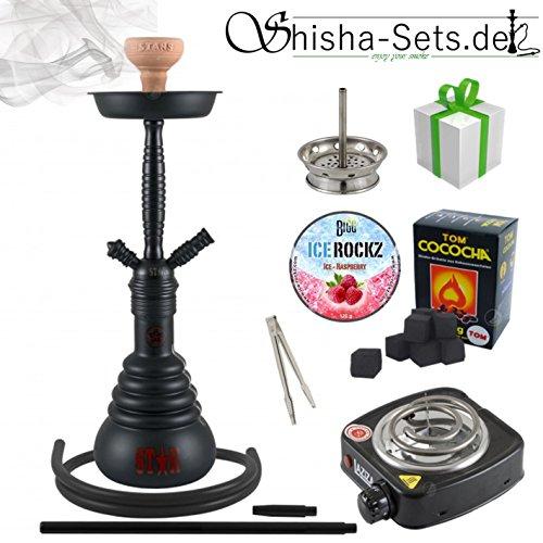 Shisha-Set Shisha 4-Stars 410D, Kohleanzünder, Dampfsteine, Naturkohle, Kaminaufsatz und eine kleine Überraschung (410D Schwarz/Schwarz-Matt) (Tabak-elektrische Pfeife)