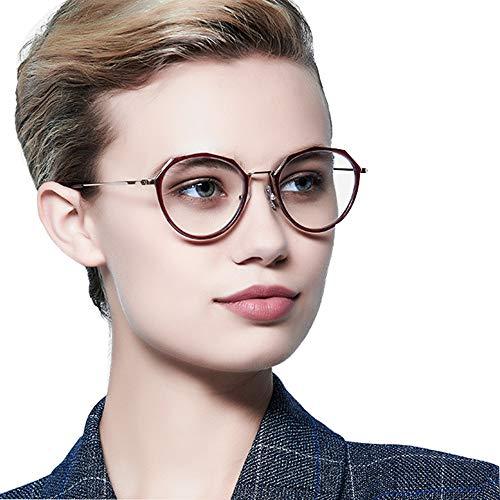 AYHMT Frauen Lesebrillen Metall GroßEn Rahmen Smart Farbwechsel Brille, Federscharniere, Blaues Licht In Der NäHe Und In Der Ferne Dual-Use-Brille Zum Lesen, EinschließLich Der Sonnenblende (Rot)
