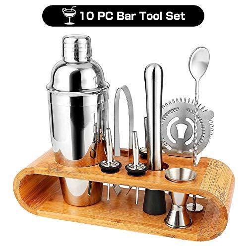 Bar-tool (Barkeeper Set - Cocktail-Shaker Set Cocktail Zubehör 10-teiliges Bar Tool Set mit schlankem Bambus-Standfuß, Martini-Shaker für die Küche, Perfect Home Bartending Kit für ein fantastisches Mixerlebnis)