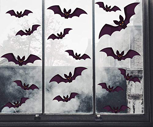 Tuopuda Halloween Wandaufkleber Fledermäuse Halloween Fensteraufkleber Fledermaus Deko Statischer Aufkleber Fledermaus 96 pcs (schwarz) (Halloween Fenster Aufkleber)