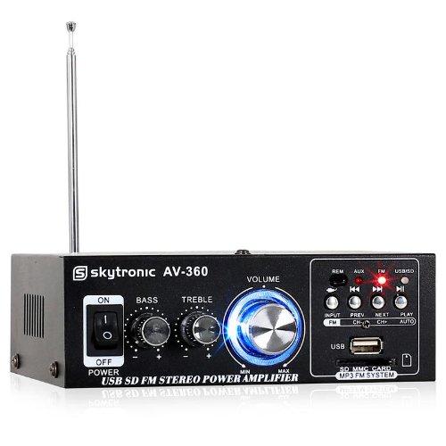 Skytronic, AV-360, HiFi-Verstärker (2 x 40 Watt, USB, SD, MP3, UKW-Radio, AUX)