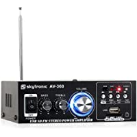 Skytronic-AV 360 final de audio-Amplificador de potencia (Hi-Fi 2 x 40 W, puerto USB SD MP3, Radio FM, AUX)