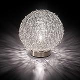 MIA Light Draht Kugel Tisch Leuchte ↥180mm/ Modern/Silber/ Alu/Nacht Lampe Kristall Perlen Nachttischlampe Nachttischleuchte Tischlampe Tischleuchte