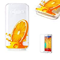 For Samsung Galaxy J1 Mini Prime Case [with Free Screen Protector], Funyye Crystal TPU Transparent Soft Silicone Ultra Thin Fashionable Pattern Cover for Samsung Galaxy J1 Mini Prime - Orange