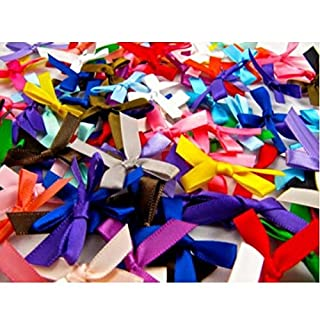 50 Satin Ribbon Bows, Assorted Colours, 7mm Wide, Double Sided Satin
