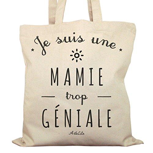 Tote Bag Imprimé Ecru - Toile en coton bio - Une Mamie trop géniale
