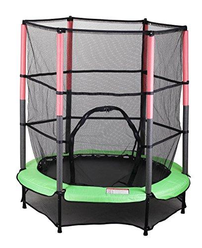 Kinder Trampolin Indoor Outdoor Garten 140cm mit Sicherheitsnetz, Grün