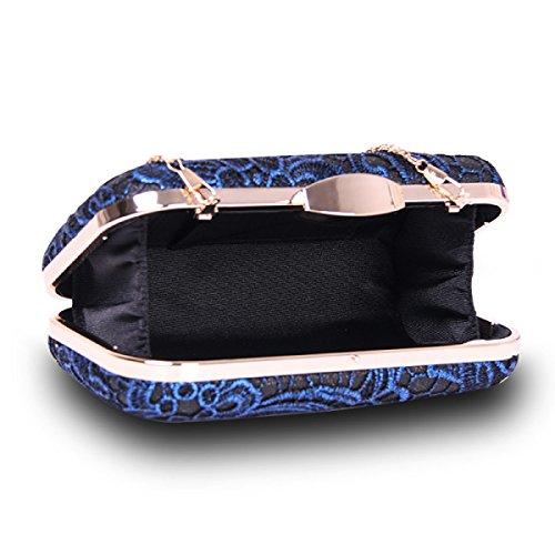 GSHGA Womens Clutch Taschen Lace Hand Tasche Hochwertige Modelle Hochzeit Abend Geldbörse,Grey Blue