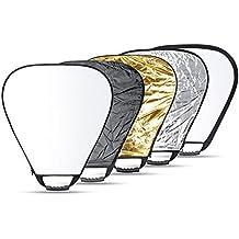 Neewer 5 En 1 Portable Triangle 24'' Pouce/ 60cm Multi Reflecteur de Lumière / Kit de Diffuseur avec Poignée et Sac de Transport Pour Photographie