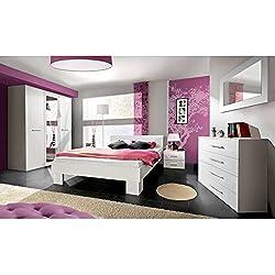 JUSTyou VICKA II 180 Conjunto dormitorio habitación de matrimonio Blanco Mat