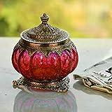 White Box Oxidised Metal Glass Red Bowl, Masala Bowl, Tealight Lamp, Candle Holder, Multi Purpose Kitchen Sugar Container Decorative Handicraft Gift Item