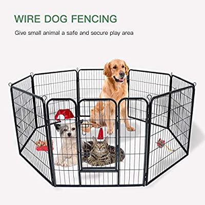 mecor Metal Large Pet Dog Fence Heavy Duty Animal Pen Gate Portable Outdoor Kennel Cage Playpen Exercise RV Play Yard 8pc*80 * 80cm by mecor