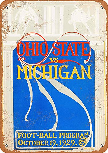 WallAdorn Ohio State Michigan Eisen Poster Malerei Blechschild Vintage Wall Decor für Cafe Bar Pub Home