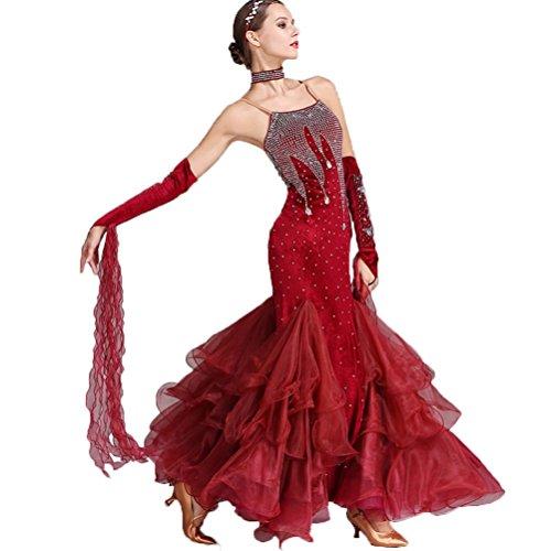 Kostüm Nationales Kleid - Schultergurte Modern Walzer Tanzkleider für Frauen Samt Wettbewerb Kleider Nationale Ballsaal Tanz Kostüm, Burgundy, L
