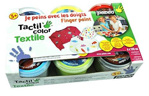 Caja de 6vasos 100ml de pintura a dedos para textil. Colores: azul, blanco, amarillo, verde, rojo y negro. Esta pintura se aplica con los dedos en muchos tejidos, algodón o sintético, preferentemente de color claro. Ideal para el primer contacto de...
