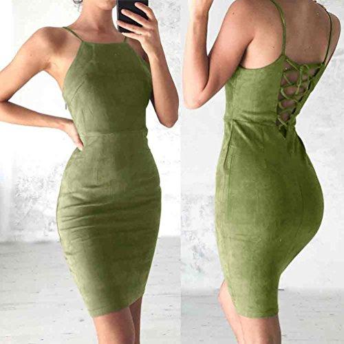 robe femme, Transer ® Femmes Sexy sans manches robe dos-nu Bandage velours Party Dress Vert
