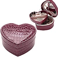 HUANGMENG Storage Box Two-layer Heart Shape Small Jewelry Box Synthetic Leather Rings and Earrings Mirrored Travel Storage Case(Black) (Color : Purple)