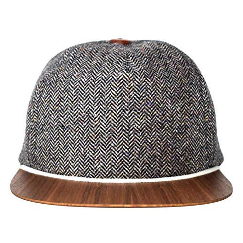 Tweed Cap mit edlem Holzschild Made in Germany - Sommer Kappe - Sehr leichte & bequeme Tweed Basecap - One size fits all Snapback Cappy - Tweed Mütze Geschenk für Männer