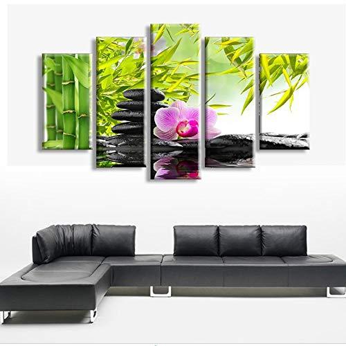 Artistico stampa digitale mosaico pittura decorativa artigianato pittura cinque bambù e pietra pittura murale studio dipinti portico murales (20 * 30 cm * 2 20 * 40 cm * 2 20 * 50 cm * 1 pittura corni