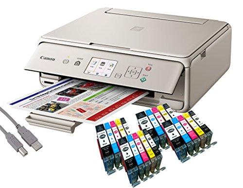 Canon Pixma TS5053 Tintenstrahl-Multifunktionsgerät grau (Drucken, Scannen, Kopieren, WLAN, Print App) + USB Kabel & 20 YouPrint® Tintenpatronen (Originalpatronen ausdrücklich nicht im - Canon Und Scanner Drucker