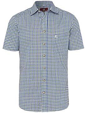 OS Trachten Moser Trachten Trachtenhemd Kurzarm Grün Blau Karo 112338, Material Baumwolle