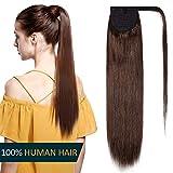 Queue de Cheval Extension Naturel Rajout Cheveux Naturel Cheveux Humain Lisse - Wrap Around Ponytail Clip in Hair Extensions - #4 CHATAIN - 20 Pouce/50cm