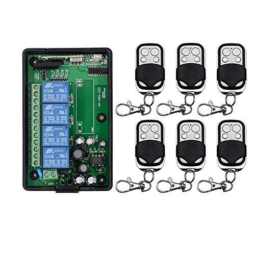 4 Kanal AC 220V 110V Funkfernsteuerung kabellose fernbedienungh schalter Funk Schalter Licht Lüfter Garagentor Handsender Funk Sender Empfänger mit 6 Handsender Hausautomation Industrie-Automation -