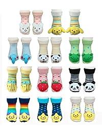 BOMIO | Unisex 3D Socken in farbenfrohem Design | hautfreundliche Antirutsch Baby-Söckchen | One size 0 bis max. 12 Monate | 1 Paar
