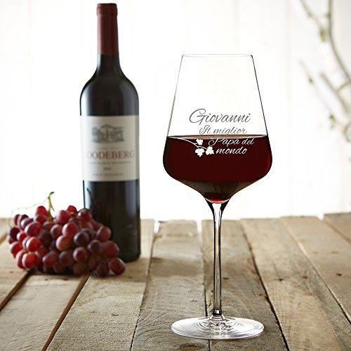 AMAVEL – Calice da Vino Rosso – Bicchiere da Vino in Vetro con Incisione – Il Miglior papà del Mondo – Personalizzabile con [Nome] – Idee Regalo per Lui – Festa del papà – Regali di Compleanno - 3