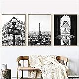 caomei Stampa Fotografica di Parigi Poster in Bianco e Nero Poster Torre Eiffel Immagini su Tela Quadri su Tela Parigi Galleria Decorazioni per la casa a parete-40cmx60cmx3 Pezzi Senza Cornice