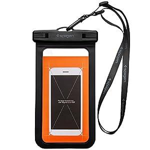 Housse Étanche, Spigen® [IPX8 Certifié] Coque Etanche, Etui Etanche pour Apple iPhone 7/7 Plus/6/6S/6 Plus/SE/5S/5/5C, Galaxy J3/J5/A3/A5/S7/S7 Edge/S6/S6 Edge/Note 4, Huawei P8/P8 Lite/P9/P9 Lite Smartphones jusqu'à 6 pouces Noir-A600