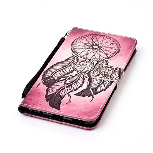 Feeltech LG V20 Hülle,LG V20 Magnet Leder Wallet Cover,Elegant Soft PU Kartenfach Extra Dünn Tasche Bunte Relife-Muster [Stand Funktion] Karte Halterung Klapp hülle Flip Book Design Case Flexible TPU  Schwarzer Traumfänger